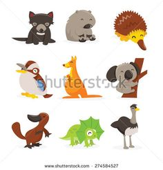 A cartoon vector illustration of cute and happy australian animals icon set like tasmanian devil, wombat, echidna, kookaburra, kangaroo, koala bar, platypus, frill neck lizard and emu.
