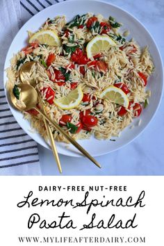 Simple and flavorful, this easy lemon orzo pasta salad makes the perfect summer side dish. Made with 6 ingredients and ready in about 15 minutes, you can quickly whip up this vegan pasta salad for a light and refreshing side any day of the week! Pasta Salad With Spinach, Easy Pasta Salad Recipe, Summer Pasta Salad, Orzo Recipes, Side Dish Recipes, Pasta Dishes, Food Dishes, Roasted Grape Tomatoes, Lemon Orzo