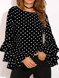 Round Neck Geometric Plain Polka Dot Printed Bell Sleeve blouses for women chic blouses for women casual blouses outfit cute blouses blouses for women work business casual Tops Online Shopping, Shopping Sites, Polka Dot Shirt, Polka Dots, Bell Sleeve Blouse, Mode Style, Types Of Sleeves, Blouse Designs, Blouses For Women