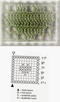 motivi crochet p. cuoricini