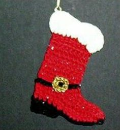 Santas Christmas Cowboy Boot ~ use as an applique, ornament, decorate packages ~ written instructions, symbol diagram and photo step-by-step ~ tall in crochet thread ~ FREE - CROCHET ~ easy level Crochet Christmas Stocking Pattern, Crochet Snowflake Pattern, Quilted Christmas Ornaments, Crochet Santa, Crochet Christmas Ornaments, Free Crochet, Christmas Stockings, Christmas Crafts, Crochet Patterns