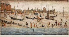Laurence Stephen Lowry R. and Deal sketch Two offset lithographs printed in colours, 1973 English Artists, British Artists, Spencer, Painting Edges, Beach Art, Stretched Canvas Prints, Find Art, Framed Artwork, Giclee Print