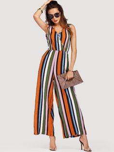 a64b306232d Multi Striped Wide Leg Jumpsuit -SheIn(Sheinside) Playsuits