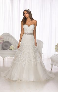 From the Essense of Australia wedding dress collection comes this gorgeous vintage Lace over Dolce Satin wedding dress with a sweetheart neckline and cathedral train.