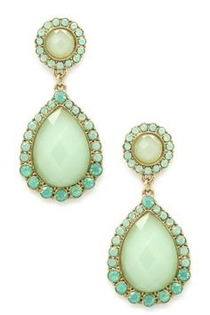 Green Crystal Double Drop Earrings