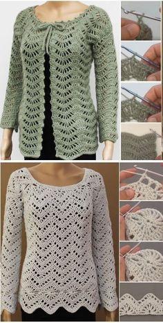57 Ideas crochet lace jacket pattern ganchillo for 2019 Pull Crochet, Gilet Crochet, Crochet Tunic, Crochet Clothes, Crochet Lace, Crochet Jacket Pattern, Crochet Patterns, Shrug Pattern, Knitting Patterns