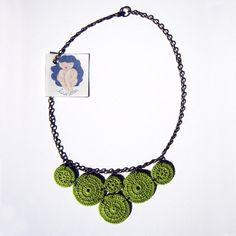 CERCLES... gargantilla (Verde/Rojo), Crochet, Accesorios, Bisutería, Collares, Complementos, Collares