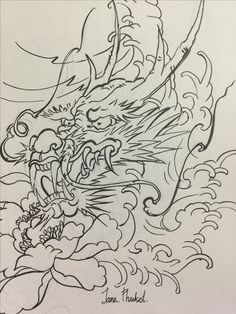 Dragon Head Drawing, Dragon Tattoo Colour, Samurai Drawing, Clown Tattoo, Traditional Japanese Tattoos, New Dragon, Oriental Tattoo, Thai Art, Leather Carving