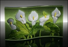 Calla Lillies by an unknown artist. #fused #glass #kilnformed