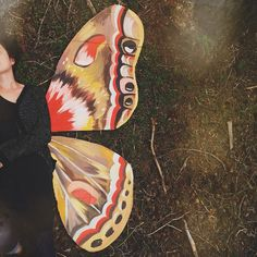 """""""I have 10 other things I should be working on, but I desperately needed a pair of moth wings  acrylic on cardboard""""  - katieisadaisy"""