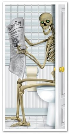 Skeleton Restroom Door Cover!!!!  We need this in our apartment!