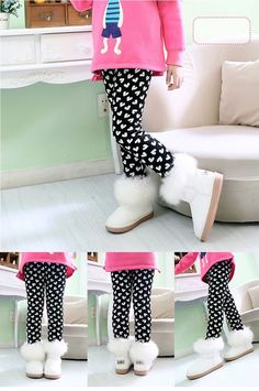 64b80a6a65683 Heart leggings with fur lining, find them at dashingbaby.com. Dashing Baby  Boutique · Dashing Girls Clothing