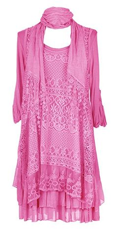 Ladies Womens Italian Lagenlook Quirky Layering 3 Piece Sequin Crochet Lace Long Sleeves Scarf Tunic Top Dress One Size Plus UK 12-16 (One Size Plus, Cerise Pink)