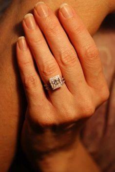 Ritani princess-cut halo engagement ring in platinum | #RitaniPinterest