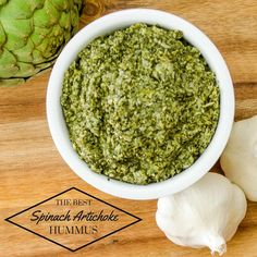 Delicious recipe for Spinach and Artichoke Hummus! This recipe for hummus from dried garbanzo beans is better and healthier to! Spinach Artichoke Dip, Finger Food Appetizers, Appetizer Recipes, Finger Foods, What Is Hummus, Paleo Recipes, Real Food Recipes, Vegan Spinach Dip, Finger Food