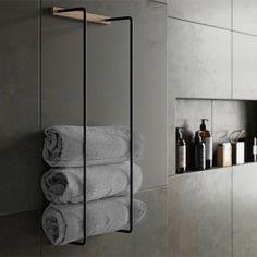 Towel Rack is a practical and stylish towel storage that fits perfectly into most appliances with it Hotel Bathroom Design, Bathroom Interior, Modern Bathroom, Black Bathroom Decor, Hotel Bathrooms, Bathroom Ideas, Black Bathrooms, Small Bathroom Inspiration, Natural Bathroom