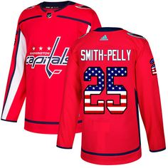 8cb61a466 Adidas Capitals Evgeny Kuznetsov Red Home Authentic USA Flag Stitched Youth  NHL Jersey