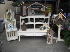 free images of birdhouse benches | ... birdhouses and the bench started life as a headboard that was free on