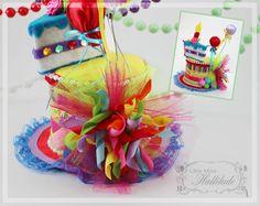 Birthday Mini Top Hat, Girl mini Hat, Mini Top Hat, Fascinator, Celebration Hat, Mini Cake Hat