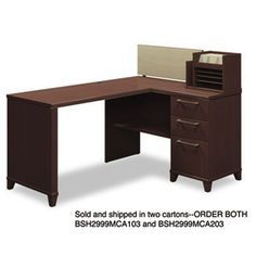 "NEW - 60""W x 47""D Corner Desk Solution (Box 2 of 2) Enterprise: Mocha Cherry - 2999MCA203 by Bush. $333.68. 22. Durable melamine surfaces are dent- and scratch-resistant. Drawers operate on full-extension ball bearing slides; file drawer accommodates letter and legal size files. Micro hutch with storage slots and tackboard may be located in multiiple positions on desk. Printer shelf beneath return surface plus integrated 4-port USB hub and charging station for po..."