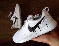 851e913d22ec Nike Roshe Run One White with Custom Black Candy by DenisCustoms Obuv Nike  Free