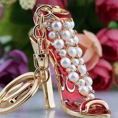 NEW High Pearl Stiletto Key Chain with Crystal Rhinestones Key Charm for Women