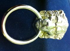 "Detailed Lion Head Design, Ring Pull, Bright Plated Brass, P-21, Dimensions: 1 1/8"" x 2 3/8""  Projection 1/2"" by FREEMANHARDWARE on Etsy https://www.etsy.com/listing/242936527/detailed-lion-head-design-ring-pull"