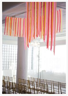 tons of amazing hues, textures, pop + delight all composed wonderfully to peruse + wish for. Loft Wedding, Wedding Stuff, Party Streamers, Colorful Party, Timeless Wedding, Ceiling Decor, Diy Wedding Decorations, Chicago Wedding, Event Styling