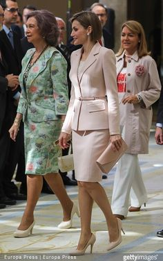 Queen Letizia of Spain and Queen Sofia of Spain attended 'Royal Trust Disability Reina Sofia 2014 Awards' at El Pardo Palace on April 29, 2015 in Madrid, Spain.