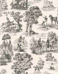 classic equestrian toille wallpaper in farmhouse bathrooms