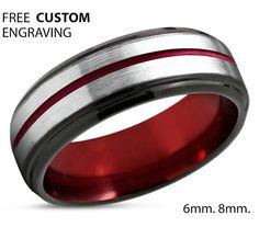 Tungsten Ring Mens Red Black Wedding Band Tungsten Ring Tungsten Carbide 6mm Tungsten Man Wedding Male Women Anniversary Matching
