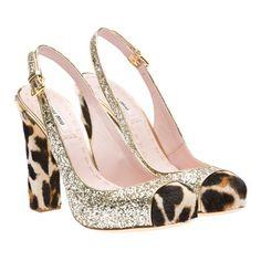 Miu Miu leopard and glitter pump