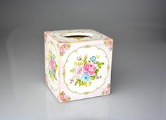 Victorian Style Tissue Box Cover Shabby Chic Tissue Box by YWart, make with clay in a goth theme?