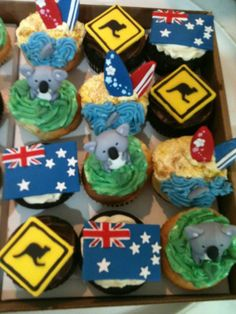 My cousin is moving away to Australia so I did cupcakes for her going away party. Huge success, many compliments, ego fed, small profit achieved. Plus, so gosh darned cute! Themed Cupcakes, Fun Cupcakes, Cupcake Party, Vanilla Cupcakes, Australia Cake, Happy Australia Day, Australian Party, Australian Food, Going Away Cupcakes