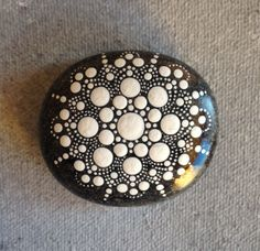 Dot Art Mandala Painted Stone White Gift Decoration Painted rock Beachstone
