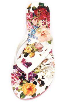 Sandcastle White Floral Print Flip Flops at Lulus.com!