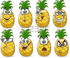 fruit cartoon: Cartoon pineapples with emotions