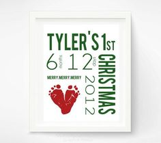 Babys First Christmas Decoration Personalized Nursery Art Print - Baby Footprint Wall Decor Red & Green - New Baby Christmas Gift via #baby boy| http://babyboysoledad.blogspot.com