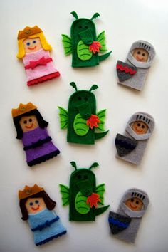 princesses, dragons, and knights - finger puppet sets