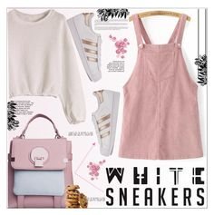 """""""White Sneakers"""" by selena-gomezlover ❤ liked on Polyvore featuring WithChic, adidas, polyvoreeditorial and whitesneakers"""