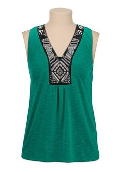 Chiffon back Embellished Neck Top (original price, $29) available at #Maurices