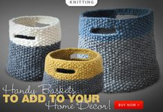 Triplet Baskets Knit Pattern -- Handy baskets to add to your home decor