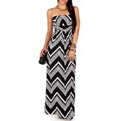 Black/White Tribal Chevron Maxi Dress
