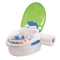 Perfect for potty training your child, the 3-Stage Reward Potty and Stepstool has everything a parent needs to make the potty training process stress-free. With a built-in lid and toilet tissue holder, this potty helps parents encourage and teach important hygiene habits. The potty can be used as a standalone, toilet topper training seat, and a stepstool. Stickers are included to use as incentives.<br><ul><li>Soft, contoured seat</li><br><li>Flushable wipes holder and toilet tissue…