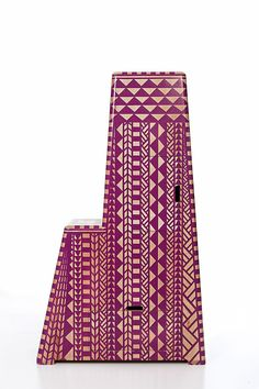 Kassena Watchtower Hand-painted Beech timber, casters 115 x 50 x 193 cm Edition of 8 Cabinets, Southern, Hand Painted, Graphic Design, Prints, Armoires, Fitted Wardrobes, Lockers, Visual Communication