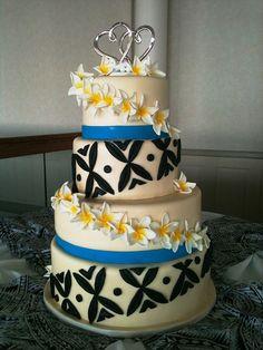 Hawaiian Wedding Cake - Tapas and Plumerias Samoan Wedding, Polynesian Wedding, Polynesian Art, Samoan Designs, Beautiful Cakes, Amazing Cakes, Cake Cookies, Cupcake Cakes, Samoan Food