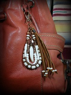 Southwest Tribal Beaded Leather Tassel. A purse tassel in a Native American style for you purse or anything you can clip it to. By stoneweardesigns