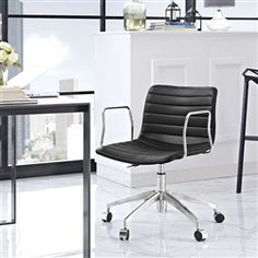 this mid century modern office chair from modway offers the unique design needed to impress even the harshest critics - Gray Leather Office Chair