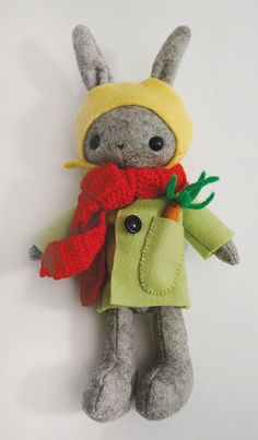Handmade bunny dressed for winter