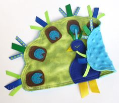 PEACOCK Ribbon Tag Baby Blanket Minky Blankie by LifeInTheSassLane, $24.00